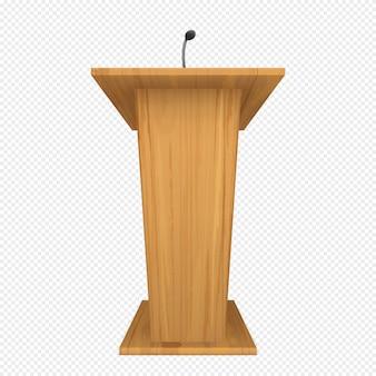 Podio o púlpito de madera con micrófono.
