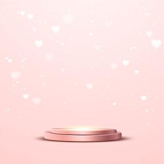 Podio de oro rosa con un foco y luces bokeh de corazón
