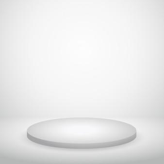 Podio en pared blanca