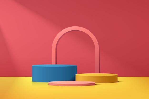 Podio de pedestal de cilindro 3d realista abstracto azul amarillo y rosa con elemento de forma de arco