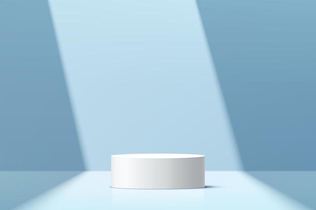 Podio de pedestal de cilindro blanco abstracto 3d con escena de pared mínima azul pastel y sombra