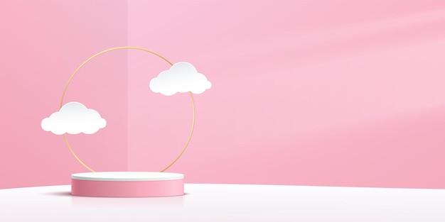 Podio de pedestal de cilindro blanco abstracto escena de pared rosa con anillo dorado y estilo de corte de papel de nube