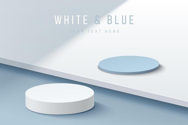 Podio de pedestal de cilindro blanco y azul abstracto 3d sobre piso de pasos azul pastel en la sombra