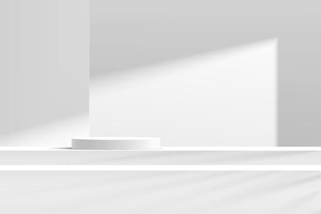 Podio de pedestal de cilindro blanco y gris abstracto 3d en la mesa de pasos con escena de pared blanca en la sombra