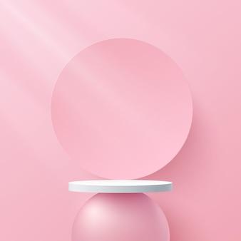 Podio de pedestal de cilindro blanco rosa abstracto 3d escena de pared mínima rosa con fondo de círculo