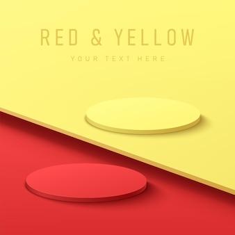 Podio de pedestal de cilindro rojo y amarillo abstracto 3d sobre fondo de contraste rojo y amarillo