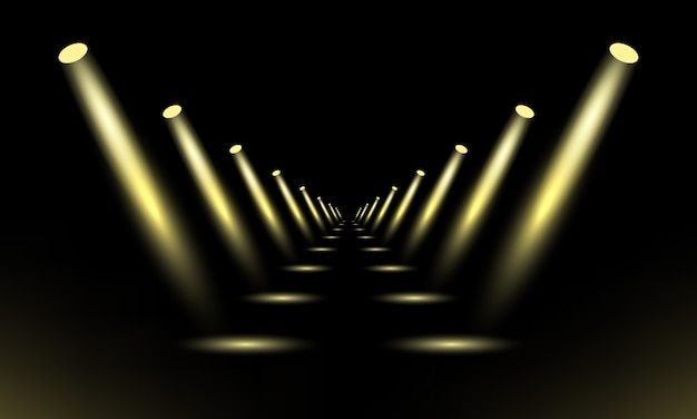 Podio, pedestal o plataforma iluminada por focos sobre fondo negro. escenario con luces escénicas.
