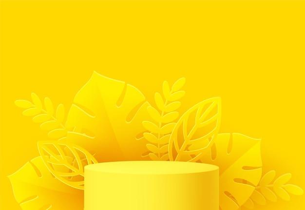Podio de producto amarillo con hoja de monstera cortada en papel sobre amarillo