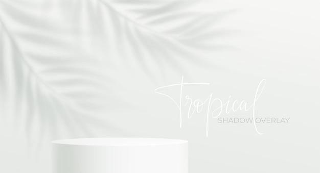 Podio de producto realista y sombra transparente de hoja de palma sobre fondo blanco. maqueta de podio de producto de sombra de hoja tropical. ilustración de vector eps10