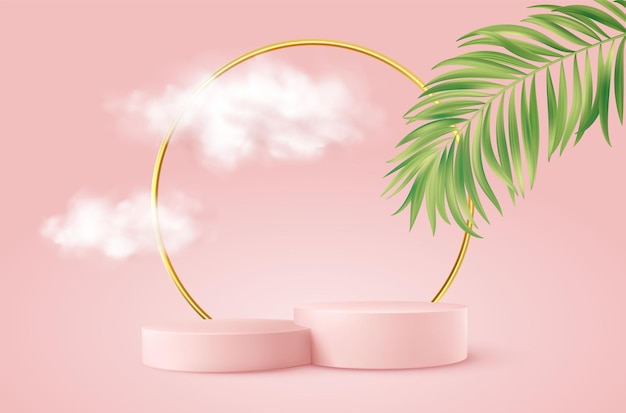 Podio de producto rosa realista con arco redondo dorado, hojas de palmera y nubes