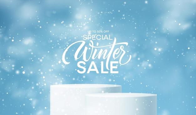 Podio de productos de invierno en el fondo de derivas, copos de nieve y nieve. podio de producto realista para diseño de descuento de invierno y navidad, venta. ilustración vectorial