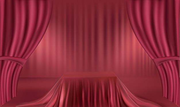 Podio realista rojo con cortina roja, exhibición de productos, presentación, publicidad.