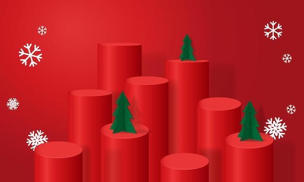 Podio realista de tema navideño decorado con fondo de producto de exhibición de árbol y copo de nieve