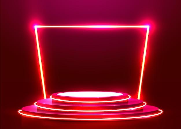 Podio redondo abstracto iluminado con focos y neón. concepto de ceremonia de premiación. telón de fondo del escenario. ilustración vectorial