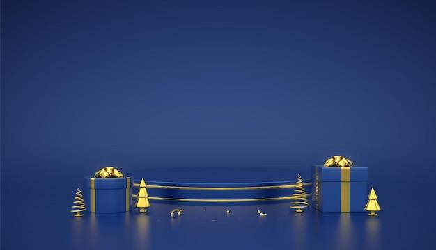 Podio redondo azul. escena y plataforma 3d con círculo dorado sobre fondo azul. pedestal en blanco con cajas de regalo con lazo dorado y pino metálico dorado, abetos. ilustración vectorial realista.
