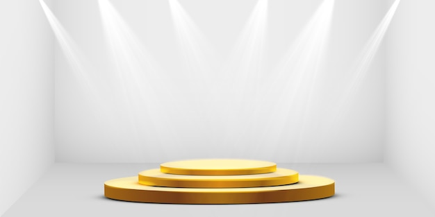 Podio redondo dorado, pedestal o plataforma iluminada por focos sobre fondo blanco. plataforma de diseño. podio vacío 3d realista. escenario con luces escénicas.