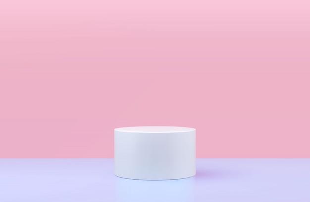 Podio redondo, pedestal o plataforma, fondo para la presentación de productos cosméticos. podio 3d lugar de publicidad. fondo de soporte de producto en blanco en colores pastel.