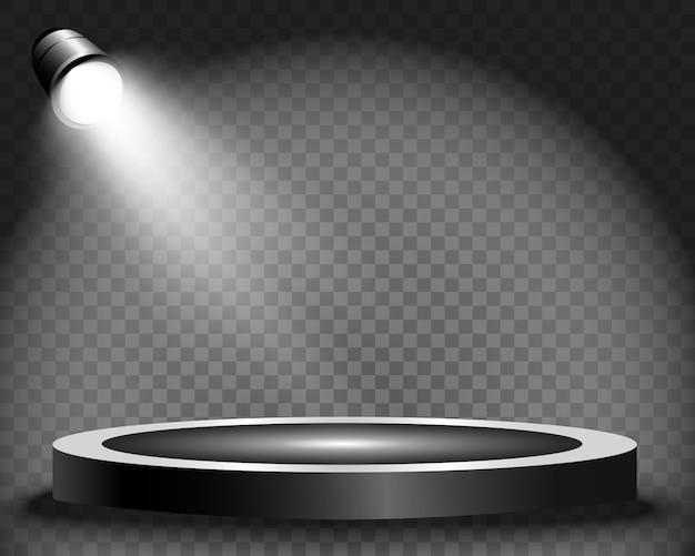 Podio redondo, pedestal o plataforma, iluminado por focos de fondo. ilustración. luz brillante. luz desde arriba. lugar de publicidad