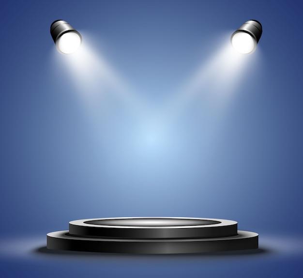 Podio redondo, pedestal o plataforma, iluminado por focos de fondo. luz brillante. luz desde arriba. lugar de publicidad