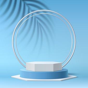 Podio redondo realista vector sobre fondo azul de hojas y círculos tropicales