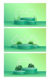 Podio con vector de ilustración de superposición de sombra de hojas tropicales