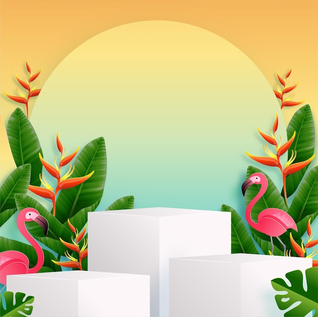 Podio de verano con coloridas flores tropicales.