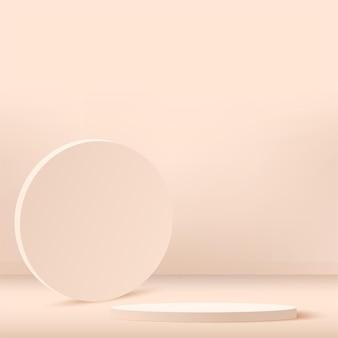 Podios 3d geométricos abstractos del color crema.