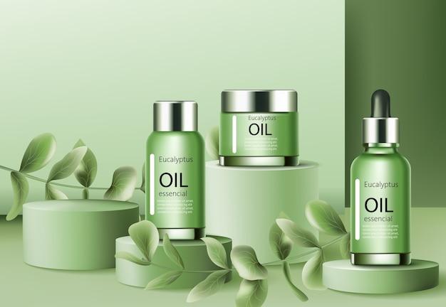 Podios rodeados de ramitas con recipientes llenos de aceite esencial de eucalipto