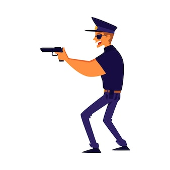 Un policía apuntando con una ilustración de dibujos animados de pistola sobre fondo blanco. oficial de policía, seguridad profesional y personaje de guardia para aplicaciones y juegos.