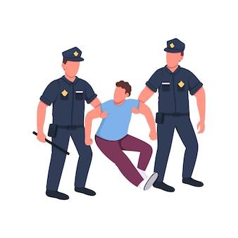 Policía arrestando a personajes criminales sin rostro de color plano. regulación de violación de la ley. el oficial atrapó al hombre. ilustración de dibujos animados aislados de castigo de crimen para diseño gráfico y animación web