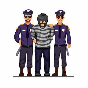 La policía atrapó al hombre terrorista o criminal con el concepto de símbolo de esposas en dibujos animados