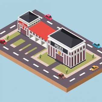 Policía y una estación de bomberos en una ciudad