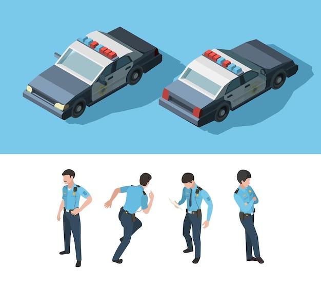 Policía isométrica. guardia oficial de seguridad permanente transporte profesional varios puntos de vista vector. guardia de policía de ilustración, oficial de pie y policía de automóviles