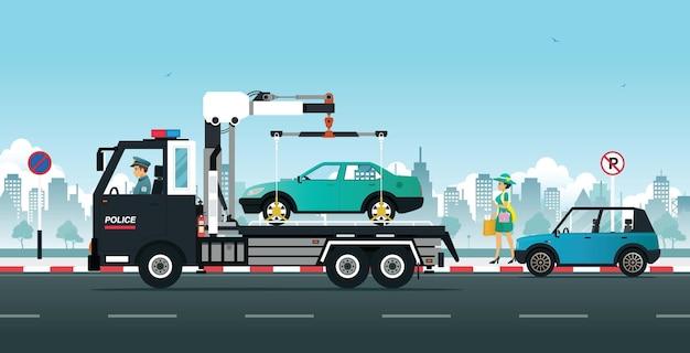 La policía mueve los autos estacionados en la carretera sin espacios de estacionamiento