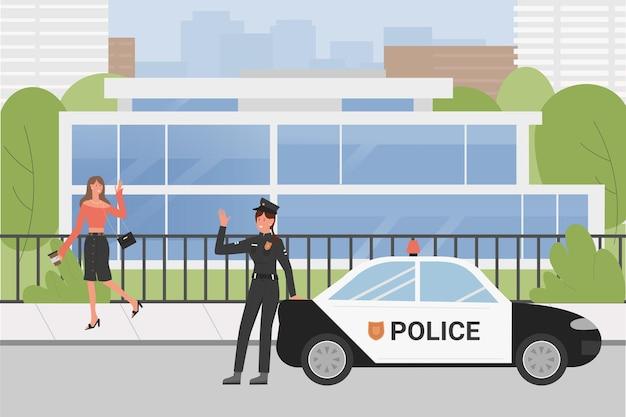 Policía policía en la escena de una calle de la ciudad, trabajadora de policía en uniforme saludando a la mujer