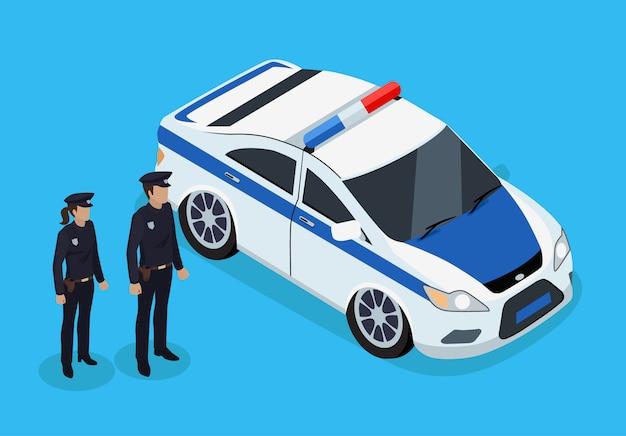 Policías de pie cerca de la ilustración isométrica del vehículo