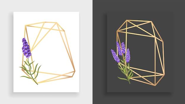 Poliedro de marco geométrico. marco floral dorado abstracto con hojas y rama de lila