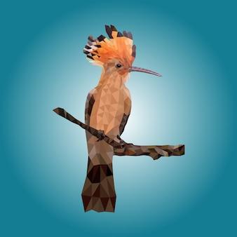 Poligonal geométrico de madera de ave.