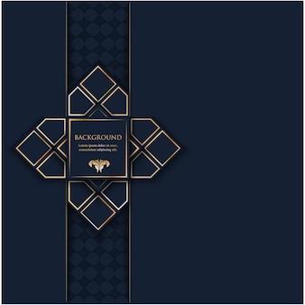Poligonal con oro geométrico y lugar para texto en azul marino oscuro
