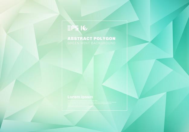 Polígono bajo abstracto o modelo de los triángulos en fondo y textura de la menta del verde azul.