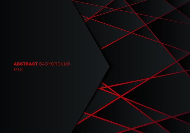 Polígono geométrico negro abstracto con luz láser roja