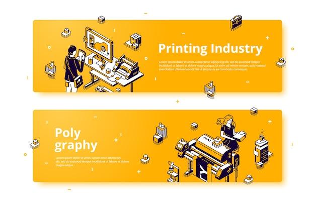 Poligrafía, banner web isométrico de la industria de la imprenta.