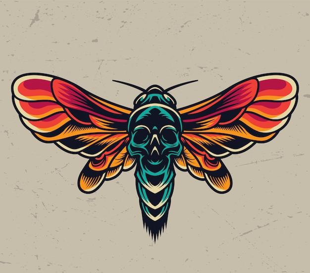 Polilla de cabeza de muerte voladora colorida vintage
