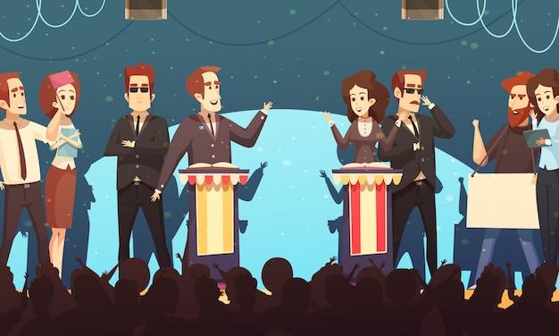 Política debates electorales dibujos animados
