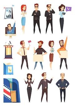 Política políticos conjunto de personajes de dibujos animados
