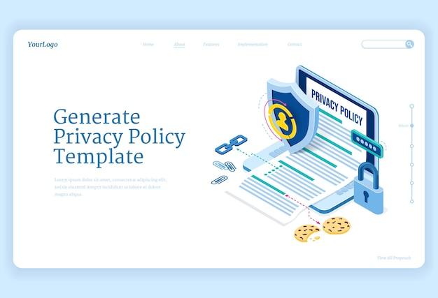 Política de privacidad página de destino isométrica, protección de datos, seguridad digital, seguridad en línea de información confidencial personal. laptop con plantilla generada, escudo y candado banner web de arte de línea 3d