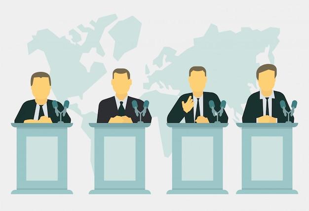 Política, reunión y discurso.