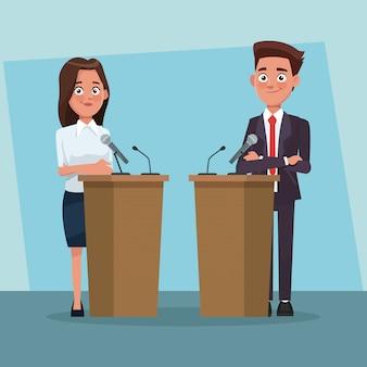 Político debatiendo dibujos animados