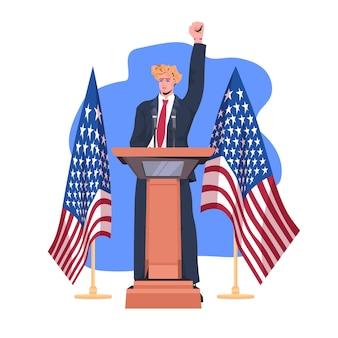 Político masculino pronunciando un discurso desde la tribuna con la bandera de ee.