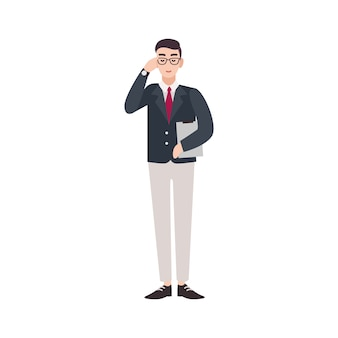 Político, trabajador del gobierno, servidor público, funcionario o delegado vestido con traje elegante.
